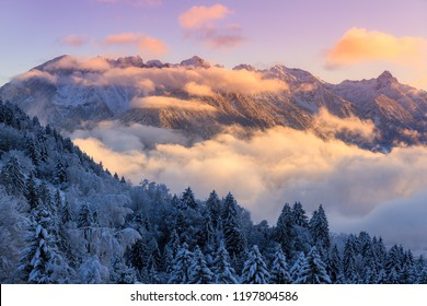 Beautiful morning sunrise view of fresh powder snow in the mountains of the Brandnertal in the Alps in Vorarlberg, Austria, in winter