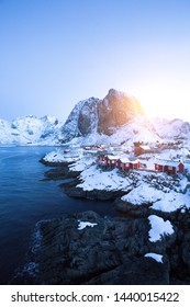 Beautiful morning winter Norwegian landscape. mountains and rorbu. lofoten islands, hamnoy. Norway