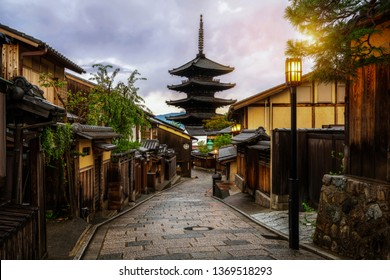 Beautiful morning at Yasaka Pagoda and Sannen Zaka Street in summer, Kyoto, Japan. Yasaka Pagoda is the famous landmark and travel attraction of Kyoto.