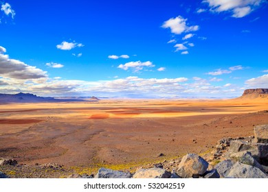 Beautiful Moroccan Mountain landscape in desert with blue sky