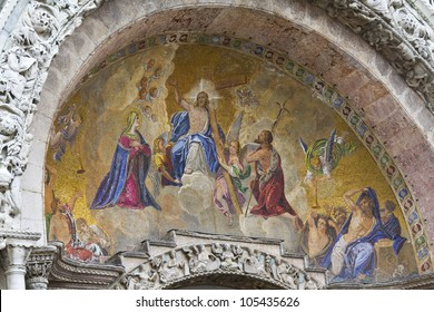 The beautiful mosaic. Patriarchal Cathedral Basilica of Saint Mark is the cathedral church of Roman Catholic Archdiocese of Venice. It lies at Piazza San Marco, Venice, Italy, Europe