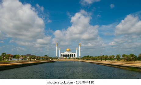 Beautiful mosque with blue sky and reflection