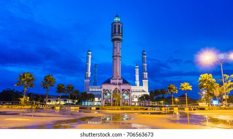 Beautiful mosque with golden light reflecting at  Pontianak, INDONESIA