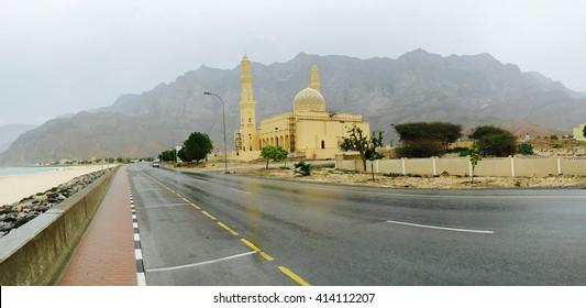 Beautiful mosque on the beach of Musandam, a peninsula of Sultanate of Oman