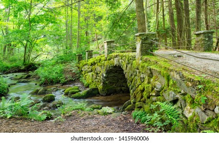 Beautiful Moss Covered Antique Stone Bridge Near the Little River The Great Smokies Mountains National Park