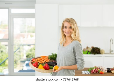 beautiful mother in kitchen
