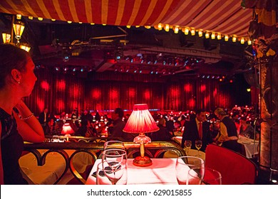 Beautiful Moulin Rouge cabaret interior design in Paris, France.
