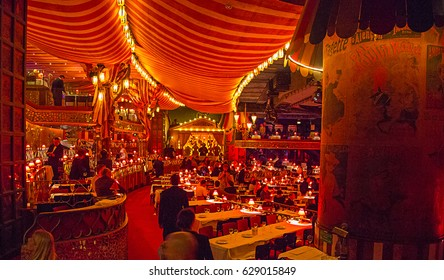 Beautiful Moulin Rouge interior design in Paris, France. Amazing cabaret.