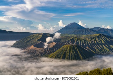 Beautiful Mount Bromo volcano during sunrise scene at Bromo tengger semeru national park, East Java, Indonesia