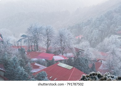beautiful mount lushan in winter, a famous tourist attraction in China.