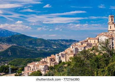 Beautiful mountain aerial landscape of Bomba village in Abruzzo Italy
