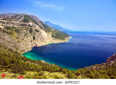 beautiful mountain bay with poppies Croatia
