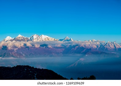 Beautiful mountain chain of Helambu in Nepal at sunrise