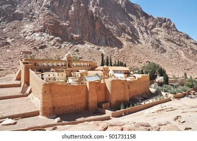 Beautiful Mountain cloister landscape in the oasis desert valley. Saint Catherine's Monastery in Sinai Peninsula, Egypt