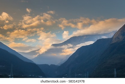 beautiful mountain and cloud