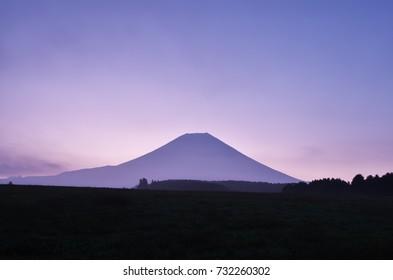Beautiful mountain Fuji in autumn sunrise at Asagiri platue, Japan - Oct. 9, 2017