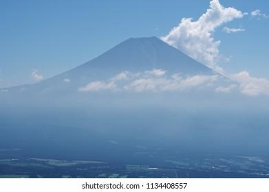 Beautiful mountain Fuji in Hot-summer at Asagiri platue, Japan