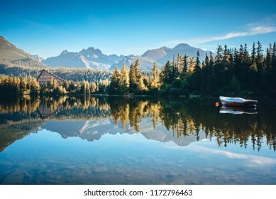 Beautiful Mountain lake in National Park High Tatra. Strbske pleso, Slovakia, Europe