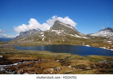 Beautiful mountain lake in Norway near Troll road