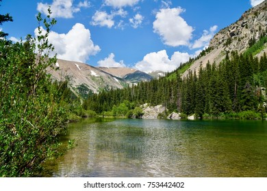 Beautiful mountain lake in the rocky mountains above alma, Colorado with blue skies and white clouds, simply lovely scenery