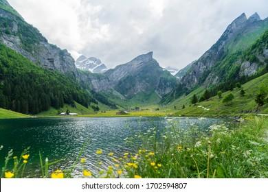 スイスの美しい山の湖