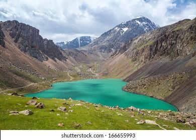 Beautiful mountain lake in Tien Shan, Kirgizstan