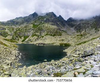 Beautiful mountain lake under the Rysy mountain, High Tatras (Vysoke Tatry) Slovakia