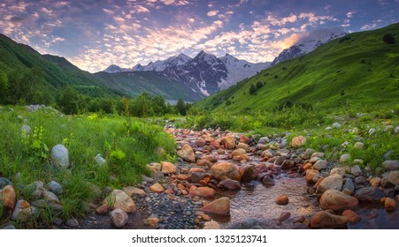 Beautiful Mountain landscape in Austrian Alps at sunrise. Amazing mountains scene in the morning