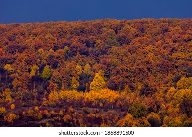 Beautiful mountain landscape in the Carpathian Mountains Romania at the transition from autumn to winter.