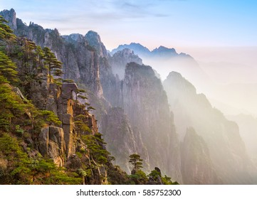 Beautiful mountain landscape in China ( Huangshan ) during sunset