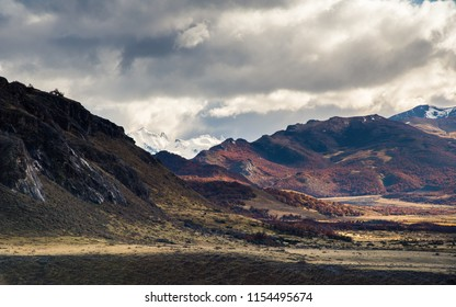 Beautiful mountain landscape with cloudy sky, typical weather at Argentina, Patagonia