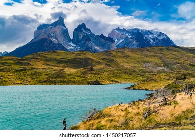 Beautiful mountain landscape with the Cuernos del Paine mountains and mountain Lake Pehoe in Torres del Paine National Park in Chile