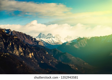 beautiful mountain landscape at dawn - new day concept