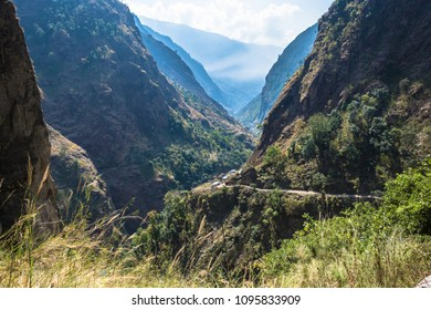 Beautiful mountain landscape with deep gorge in spring day, Himalayas, Nepal.