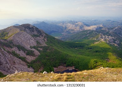 Beautiful mountain landscape. Dinaric Alps, Montenegro, view of Lovcen National Park on sunny spring day