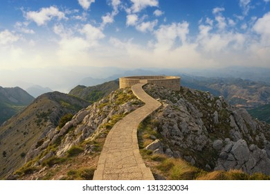 Beautiful mountain landscape with a footpath and observation deck in Lovcen National Park. Montenegro