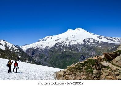 A beautiful mountain landscape. The highest peak of Europe is Mount Elbrus.
