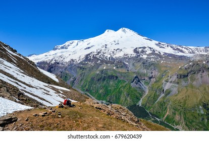 A beautiful mountain landscape. The highest peak of Europe is Mount Elbrus.