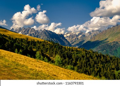 Beautiful mountain landscape in Kazbegi national park, Caucasus mountains, Country of Georgia
