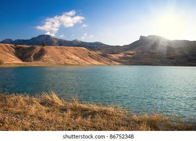 beautiful mountain landscape with lake