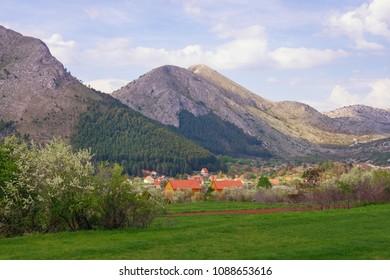 Beautiful mountain landscape. Montenegro,  Lovcen National Park , view of Njegusi village