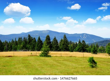 Beautiful mountain landscape in the national park Sumava. View on the mount Jezerni hora and Spicak. Czech Republic.