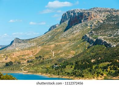 Beautiful mountain landscape near El Chorro Gorge, Andalusia, Spain