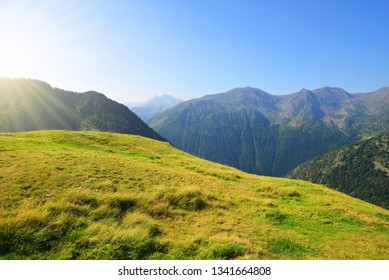 Beautiful mountain landscape in Neouvielle national nature reserve, French Pyrenees.