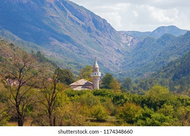 Beautiful mountain landscape on a sunny summer day. Bosnia and Herzegovina, Trebinje, view of Mosque in Zupa