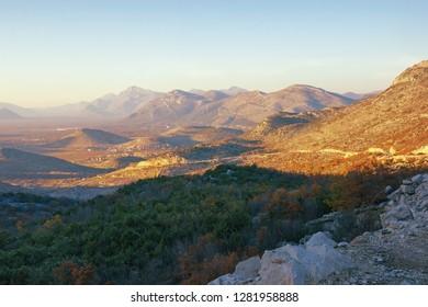 Beautiful mountain landscape on sunny autumn day. Dinaric Alps, Bosnia and Herzegovina, Republika Srpska