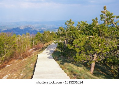 Beautiful mountain landscape on sunny spring day.  Footpath in Lovcen National Park, Montenegro, Dinaric Alps