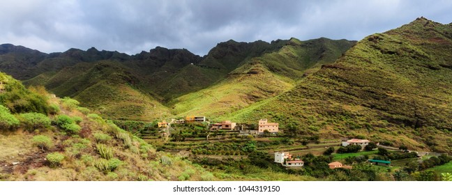 Beautiful mountain landscape on tropical island Tenerife, Canary in Spain. Breathtaking scenery from Anaga mountains.