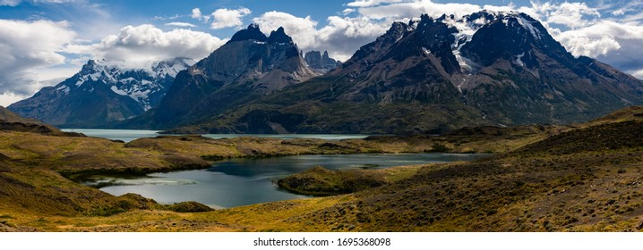 Beautiful mountain landscape. Reflection of the mountains in the lake. Torres del Paine National Park, Chile.