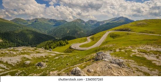 Beautiful mountain landscape as seen from the Nockalm road in the national park Nockberge, district Feldkirchen, Carinthia, Austria